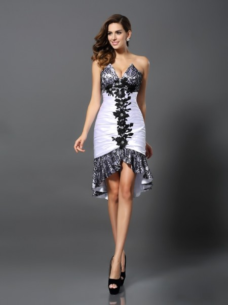 Sheath Sweetheart Elastic Woven Satin Lace Asymmetrical Dresses