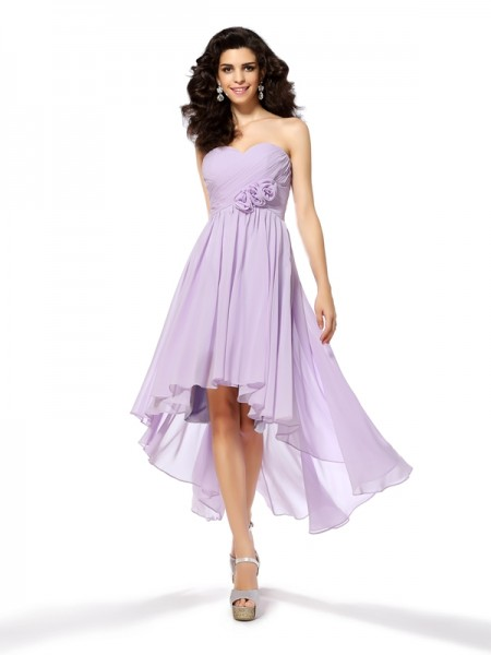 A-Line Sweetheart Chiffon Asymmetrical Hand-Made Flower Dresses