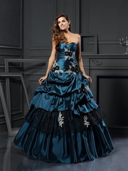 Ball Gown Sweetheart Taffeta Beading Applique Floor-Length Party Dresses