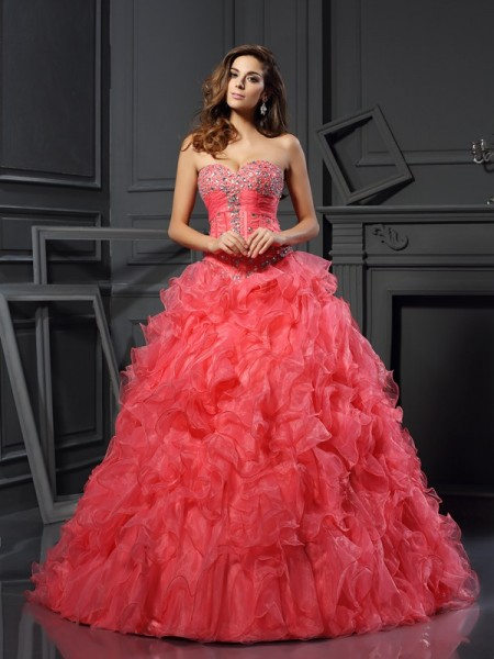 Ball Gown Organza Ruffles Sweetheart Floor-Length Party Dresses