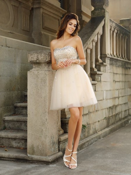 A-Line Beading Strapless Short Satin Formal Wear