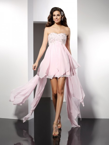 A-Line Sweetheart Applique Asymmetrical Chiffon Prom Dress