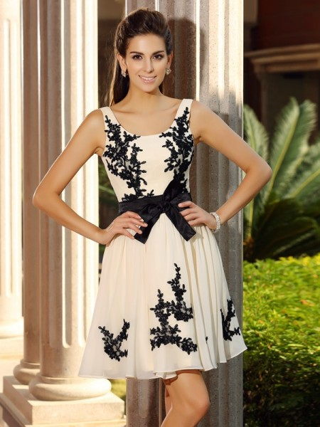 A-Line Square Chiffon Applique Mini Attractive Gown