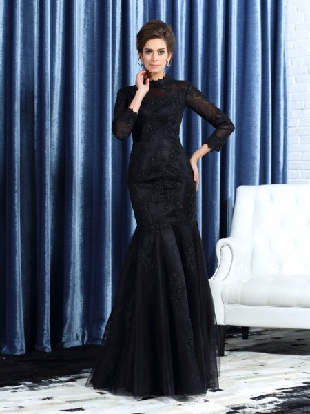 Mermaid High Neck Long Sleeves Tulle Floor-Length Applique Mother of the Groom Dress