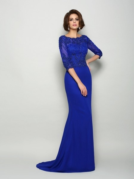 Mermaid Scoop 3/4 Sleeves Chiffon Beading Sweep/Brush Train Mother of the Groom Dress