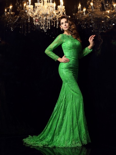 Mermaid High Neck Long Sleeves Court Train Elastic Woven Satin Applique Formal Dress