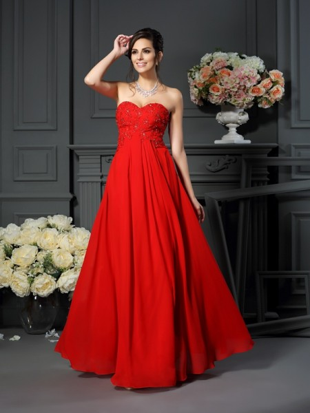 A-Line Beading Sweetheart Floor-Length Chiffon Mother of the Groom Dress