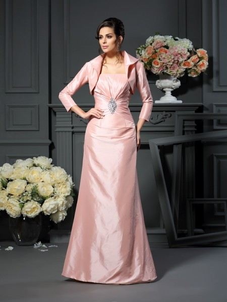 A-Line Strapless Pleats Floor-Length Taffeta Mother of the Groom Dress
