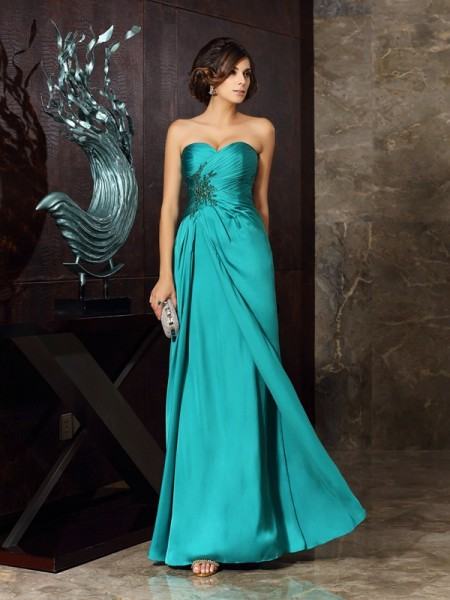 Sheath Chiffon Beading Sweetheart Applique Floor-Length Mother of the Groom Dress