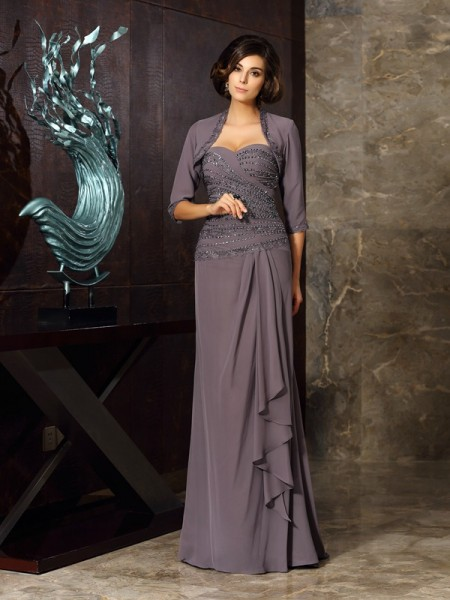 Sheath Chiffon Sweetheart Floor-Length Beading Applique Mother of the Groom Dress