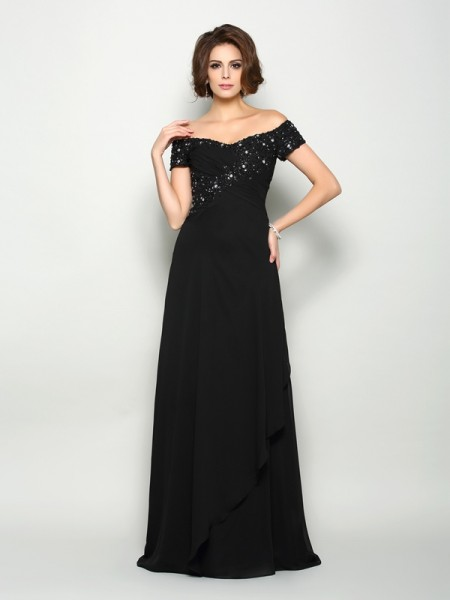 A-Line Off-the-Shoulder Short Sleeves Chiffon Sweep/Brush Train Beading Mother of the Groom Dress