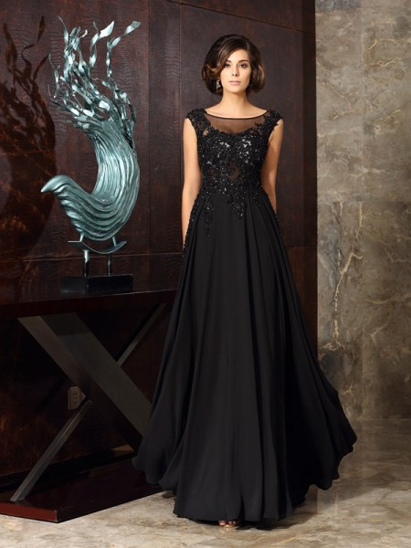 A-Line Scoop Chiffon Applique Floor-Length Mother of the Groom Dress