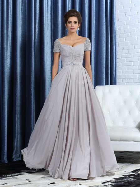 A-Line Sweetheart Short Sleeves Beading Ankle-Length Chiffon Mother of the Groom Dress