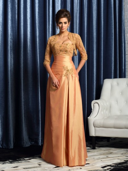 A-Line Sweetheart Taffeta Floor-Length Applique Mother of the Groom Dress