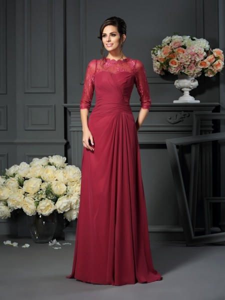 A-Line Scoop Applique 1/2 Sleeves Floor-Length Chiffon Mother of the Groom Dress