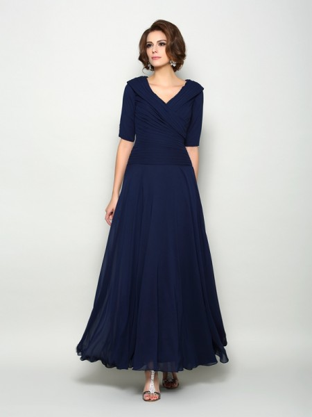 A-Line 1/2 Sleeves V-neck Ankle-Length Chiffon Mother of the Groom Dress