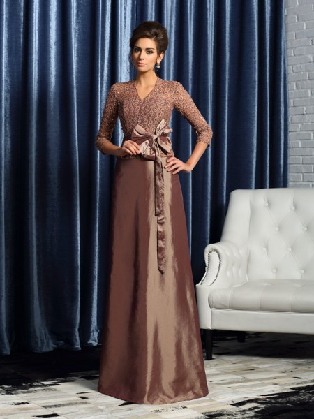 A-Line V-neck 3/4 Sleeves Taffeta Bowknot Floor-Length Mother of the Groom Dress