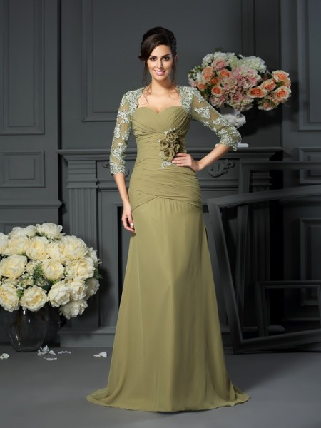 A-Line Sweetheart Hand-Made Flower 1/2 Sleeves Floor-Length Chiffon Mother of the Groom Dress
