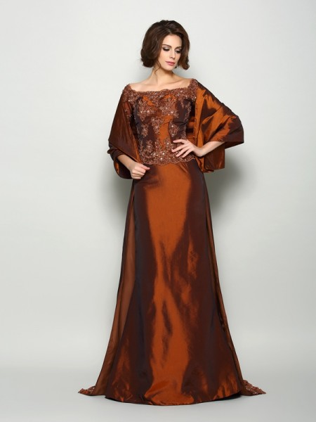 A-Line 1/2 Sleeves Off-the-Shoulder Taffeta Beading Sweep/Brush Train Mother of the Groom Dress