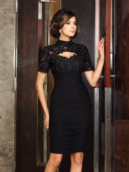 Sheath Short Sleeves High Neck Beading Knee-Length Chiffon Mother of the Groom Dress