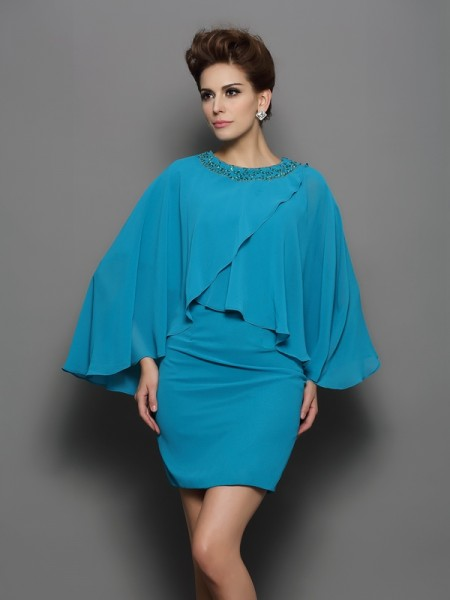 Sheath Scoop Long Sleeves Silk like Satin Beading Mini Attractive Gown