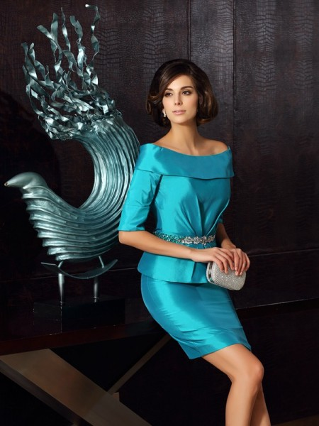 Sheath 1/2 Sleeves Off-the-Shoulder Knee-Length Taffeta Mother of the Groom Dress