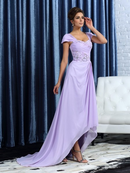 A-Line Straps Chiffon Asymmetrical Beading Mother of the Groom Dress