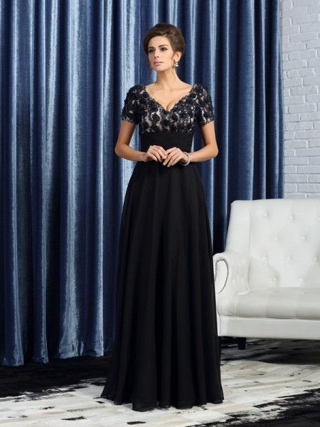A-Line Short Sleeves V-neck Floor-Length Chiffon Mother of the Groom Dress