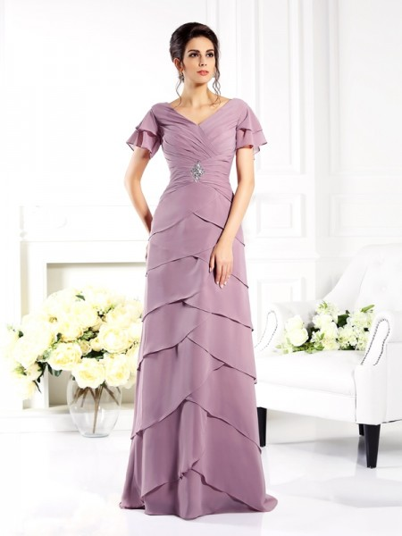 Sheath V-neck Short Sleeves Floor-Length Chiffon Mother of the Groom Dress