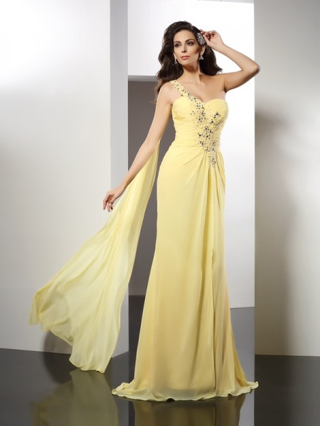 A-Line One-Shoulder Beading Floor-Length Chiffon Prom Dress