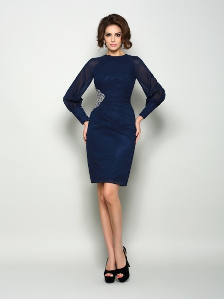 Sheath Long Sleeves High Neck Chiffon Knee-Length Beading Mother of the Groom Dress