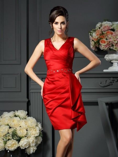Sheath V-neck Knee-Length Satin Ruched Dresseses