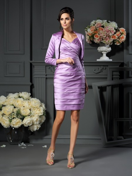 Sheath Straps Satin Ruched Knee-length Mother of the Bride Gown