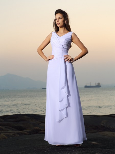 A-Line V-neck Chiffon Beading Pleats Floor-length Bridal Dress