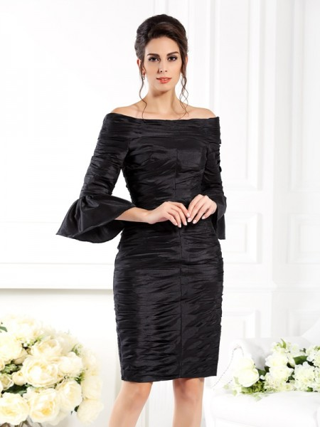 Sheath Off-the-Shoulder 1/2 Sleeves Ruched Short Taffeta Pretty Dresseses