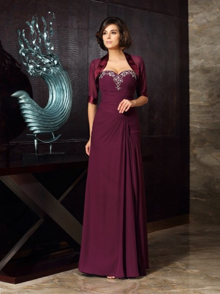 Sheath Beading Sweetheart Chiffon Floor-Length Mother of the Bride Gown