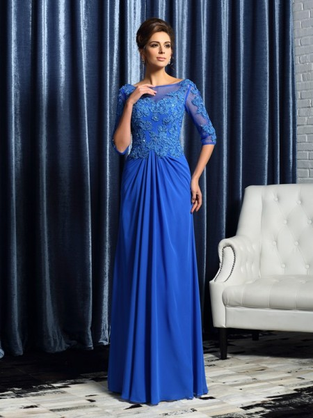 A-Line 1/2 Sleeves Bateau Floor-Length Beading Applique Chiffon Mother of the Bride Gown