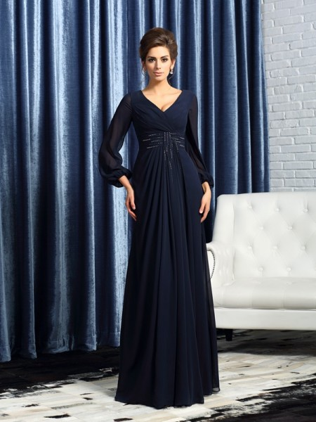 A-Line V-neck Long Sleeves Chiffon Floor-Length Beading Mother of the Groom Dress
