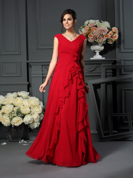 A-Line V-neck Floor-Length Chiffon Hand-Made Flower Dresses