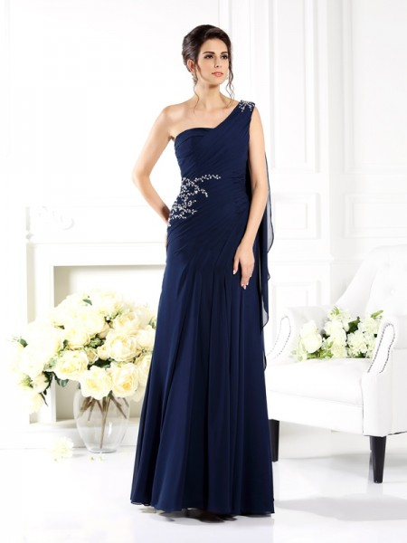 Sheath One-Shoulder Floor-Length Chiffon Dresses For Bridesmaid