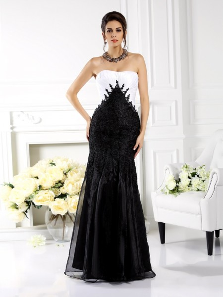 Mermaid Strapless Applique Floor-Length Tulle Dresses