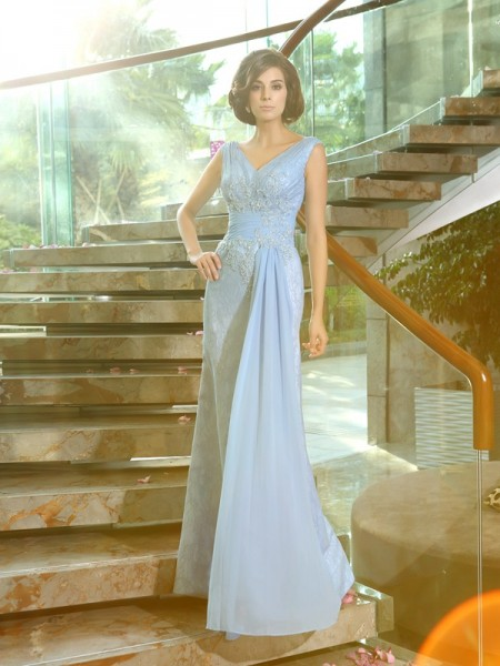 Sheath V-neck Lace Beading Applique Floor-Length Mother of the Groom Dress