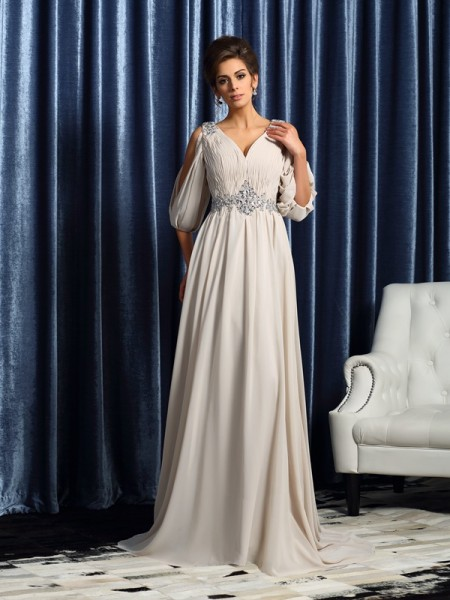 A-Line 1/2 Sleeves Chiffon V-neck Court Train Beading Mother of the Bride Dress