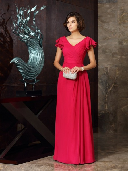 A-Line V-neck Short Sleeves Chiffon Ruched Floor-Length Party Dresses