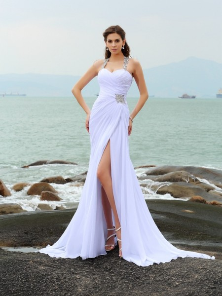 Sheath/Column Straps Beading Sleeveless Chapel Train Chiffon Bridal Dress