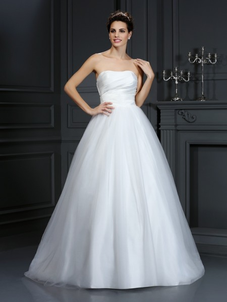 Ball Gown Strapless Pleats Sleeveless Court Train Taffeta Bridal Dress