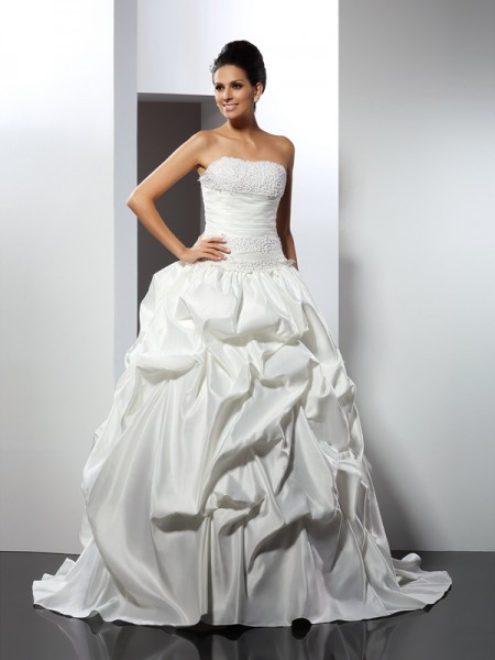 Ball Gown Strapless Sleeveless Cathedral Train Satin Bridal Dress