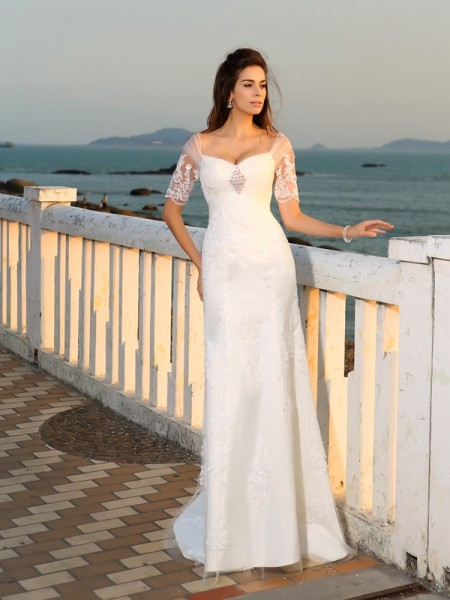 Sheath/Column Sweetheart Applique Short Sleeves Floor-Length Satin Bridal Dress