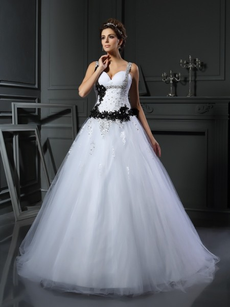 Ball Gown Straps Beading Sleeveless Chapel Train Tulle Bridal Dress