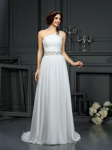 A-Line/Princess One-Shoulder Beading Sleeveless Court Train Chiffon Bridal Dress